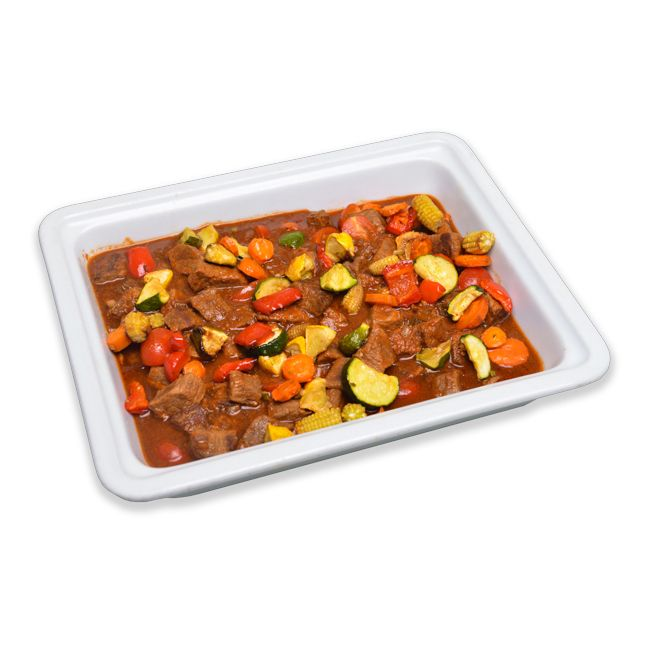 Braised Lamb cubes with Baby Veg & Brown Onion Gravy