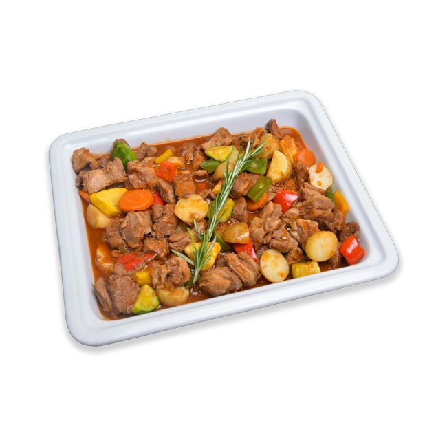 Braised Lamb cubes with Seasonal Veg & New Potatoes