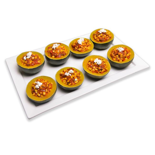 Gem-squash with Sweetcorn Filling Topped with Feta